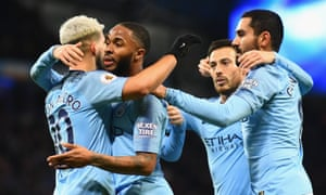 : Sergio Aguero of Manchester City celebrates after scoring