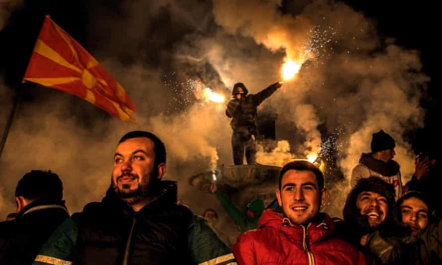 Social Democratic Union of Macedonia supporters at a rally