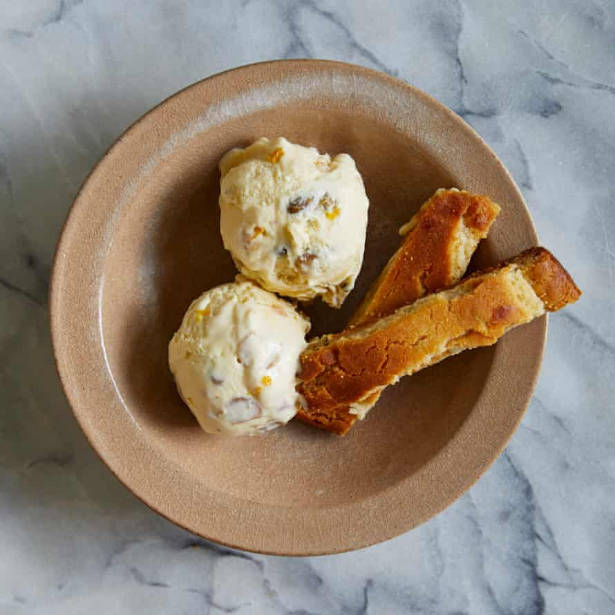 Alex Jackson's nougat ice-cream and fennel biscuits.