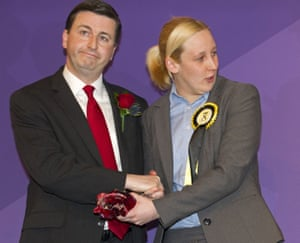 Mhairi Black with Labour's Douglas Alexander on the night she unseated him from his Paisley and Renfrewshire South seat in May 2015.