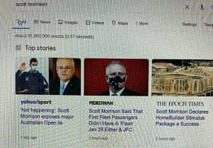 "Screengrab of a Google search for ""scott morrison"" affected by Google's restriction on major Australian news publishers"