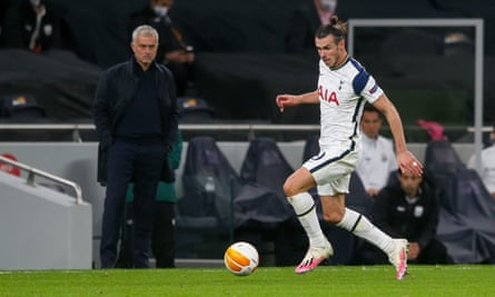 The Tottenham manager, José Mourinho, watches Gareth Bale in action against Lask in the Europa League.