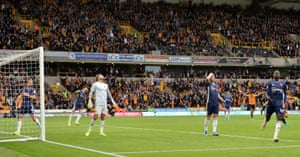 Watford players react after Daryl Janmaat scores an own goal and doubles Wolverhampton Wanderers' lead.