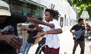 Fans mosh at the impromptu TCIYF gig in downtown Johannesburg