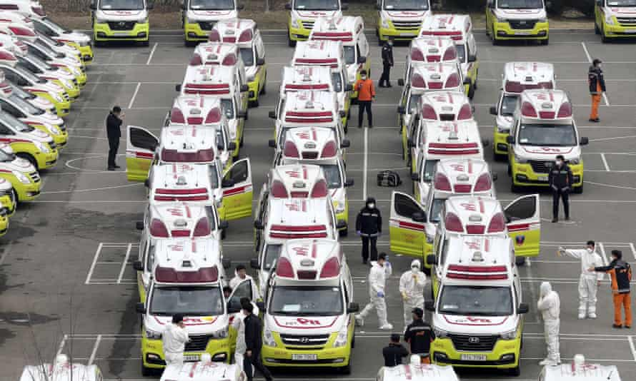 Ambulances parked to transport potential coronavirus patients in Daegu, South Korea