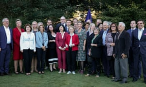 Incoming European commission president Ursula von der Leyen, centre front, with most of her cabinet, which comprises 13 women and 14 men.