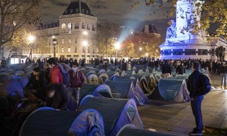 The makeshift camp, before the clearance, at Place de la Republique, Paris