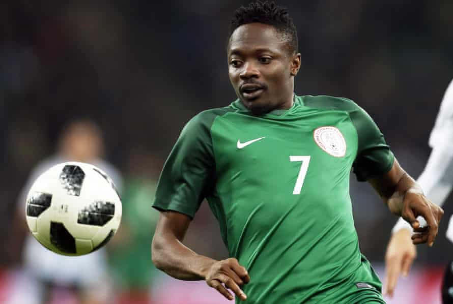 Nigeria's Ahmed Musa keeps his eye on the ball during the remarkable 4-2 against Argentina in Krasnodar.