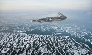 Aerial View Of An Oil Well Drilling Platform On A Man-Made Island, Arctic Alaska