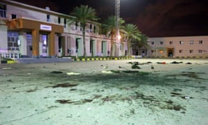 Blood and debris in the centre of the military academy bombed by rebels in Tripoli on Saturday, killing 28 people.