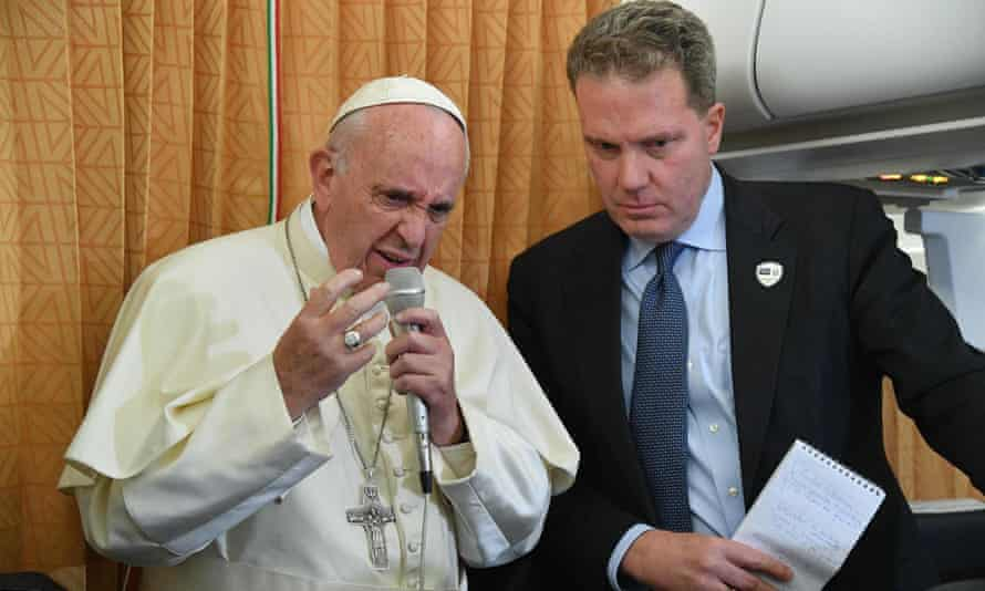 The Vatican spokesman, Greg Burke, right, pictured with Pope Francis, issued a statement in which he said victims 'should know that the pope is on their side'.