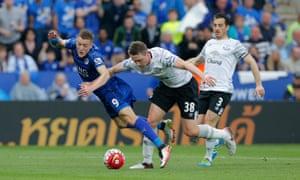 Matthew Pennington catches Vardy's left heel