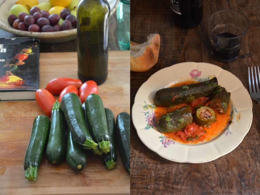 Rachel Roddy's recipe for stuffed courgettes.