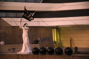 A 'Goddess of Democracy' sculpture made by protesters