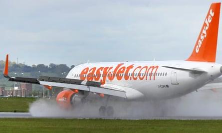 An easyJet plane at Luton airport