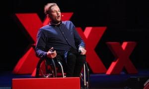 Australian paralympic gold medallist Dylan Alcott talking at the Sydney Opera House.