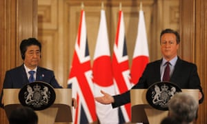 David Cameron and Shinzo Abe attend a joint press conference following their meeting at 10 Downing Street.