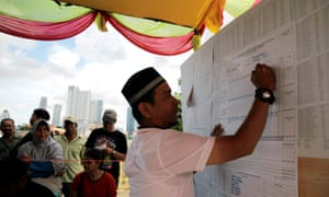 An election official counts votes during the election for Jakarta's governor.
