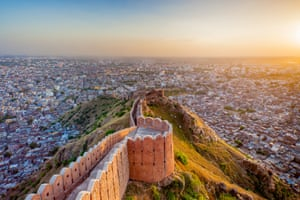 View of Jaipur from Nahargarh Fort at sunset
