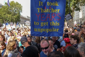 A protester holds a sign at the demonstration in London