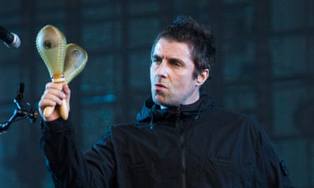 (Toilet) roll with it ... Liam Gallagher performing at Finsbury Park.