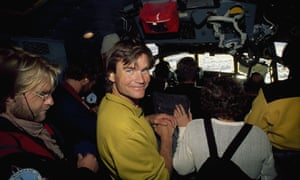 Alex Lowe and an expedition team in a plane above Queen Maud Land, Antarctica, in December 1996.