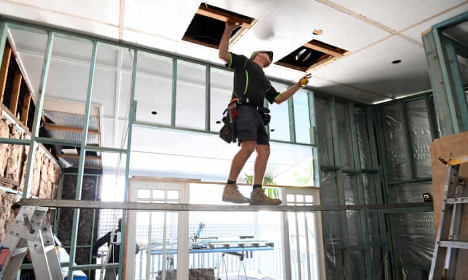 A foreman works on a house renovation in Brisbane