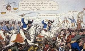 The Peterloo massacre of 1819, illustrated by George Cruikshank