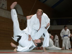 Vladimir Putin shows off his judo prowess in 2009.
