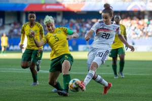 South Africa's Janine van Wyk blocks a shot from Germany's Lina Magull during their Women's World Cup match in June last year.