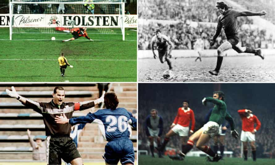 Clockwise from top left: Hans-Jörg Butt scores for Hamburg, Carlos Fenoy fires home a penalty, Alex Stepney scores against Birmingham and José Luis Chilavert celebrates after scoring a free-kick.