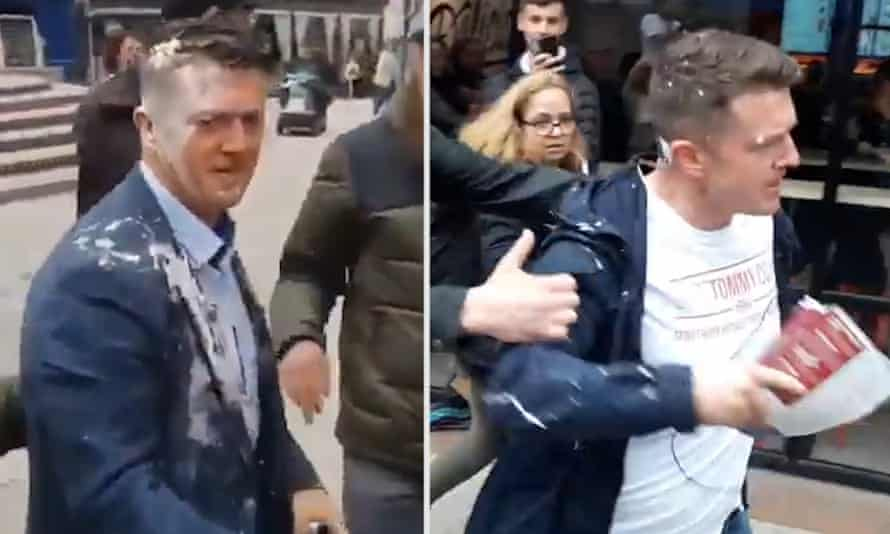 Tommy Robinson after being hit by milkshakes in Bury and Warrington