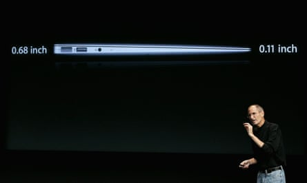 Steve Jobs unveiling a new Apple laptop in 2010.