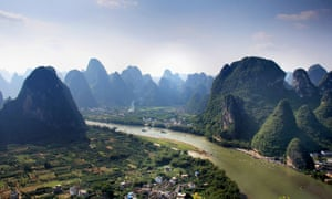 Guilin city nestled among the spectacular karst peaks the region is famous for.