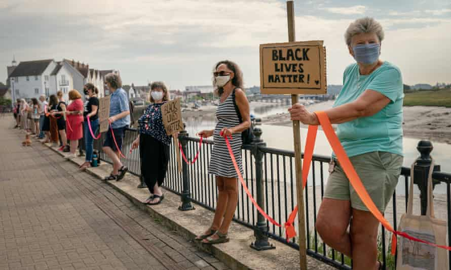 The BLM campaigners in Wivenhoe, Essex.