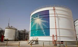 An oil tank at Saudi Aramco's Shaybah oilfield, Saudi Arabia.