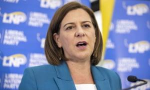 LNP leader Deb Frecklington concedes defeat at the party's election night reception in Brisbane