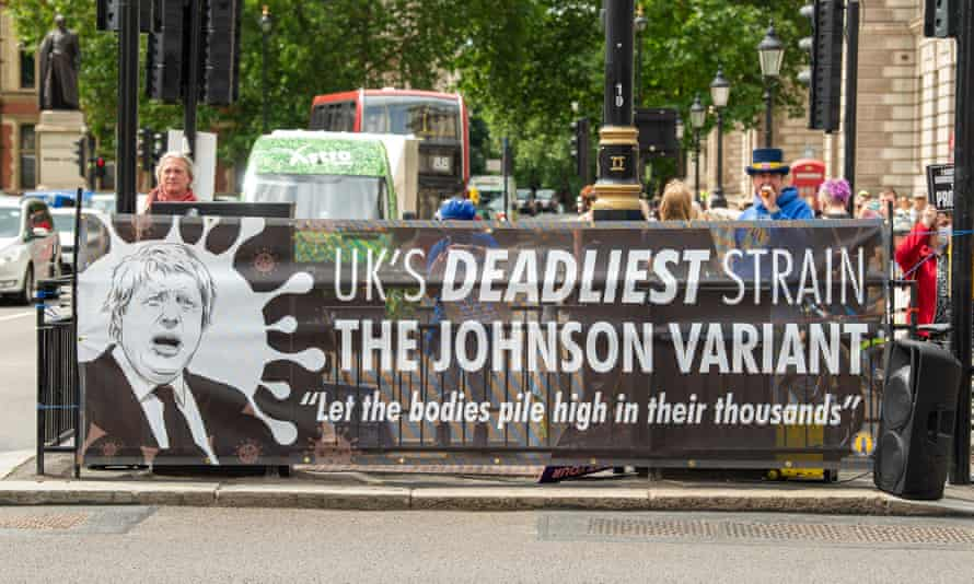 A protest at Parliament Square in London on 5 July.