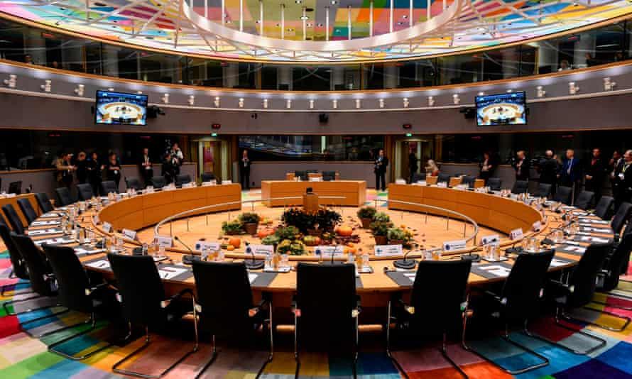 A European council meeting room during a summit last year.