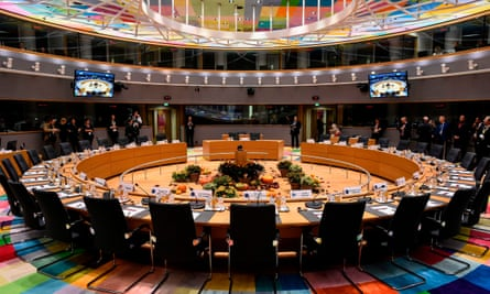 A European council meeting room during a summit last year.