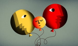 Illustration of three face balloons with twisted strings