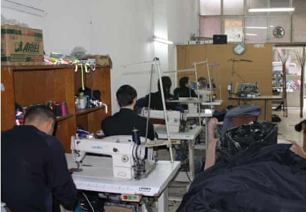 Syrians working in a textile workshop in Mersin