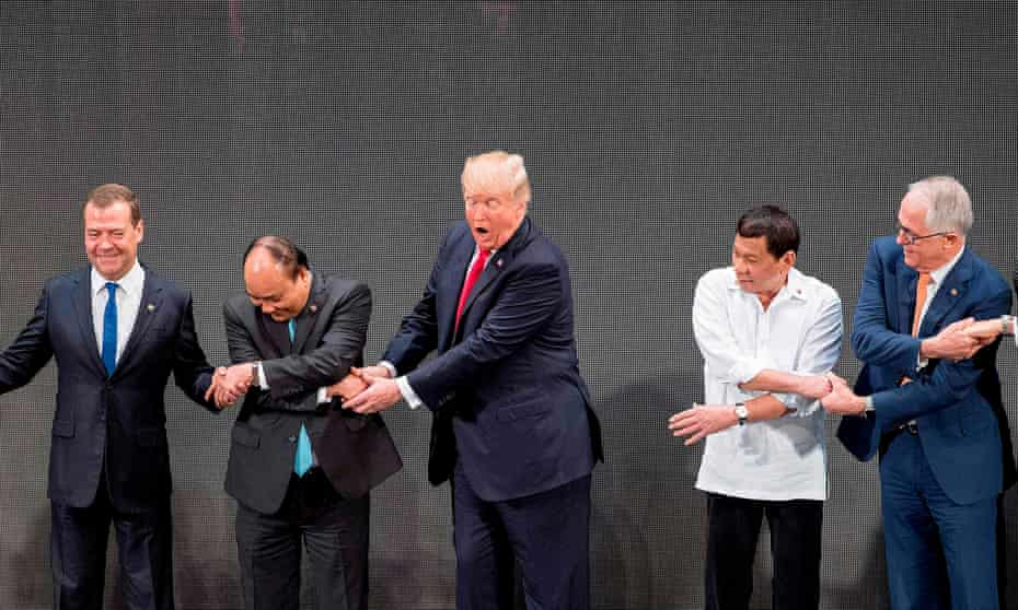 Donald Trump with world leaders at the South East Asian Nations Summit in Manila in 2017.