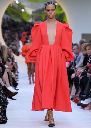 A plunging neckline by Valentino, SS20, Paris fashion week.