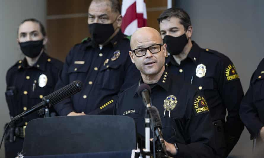 Eddie García, the Dallas police chief, speaks at a press conference about the arrest of officer Bryan Riser.