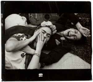 Frida and a friend laughing, circa 1945