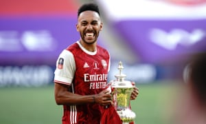 Pierre-Emerick Aubameyang with the spoils of victory