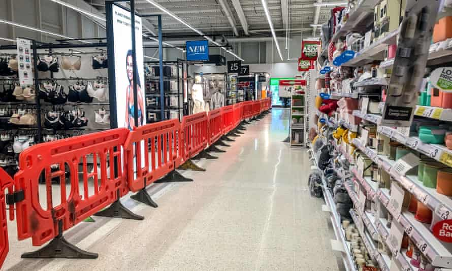 The clothing area in a supermarket near Cardiff is cordoned off