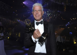 Anthony Bourdain with his Emmy award for outstanding informational series or special for Anthony Bourdain: Parts Unknown in 2016