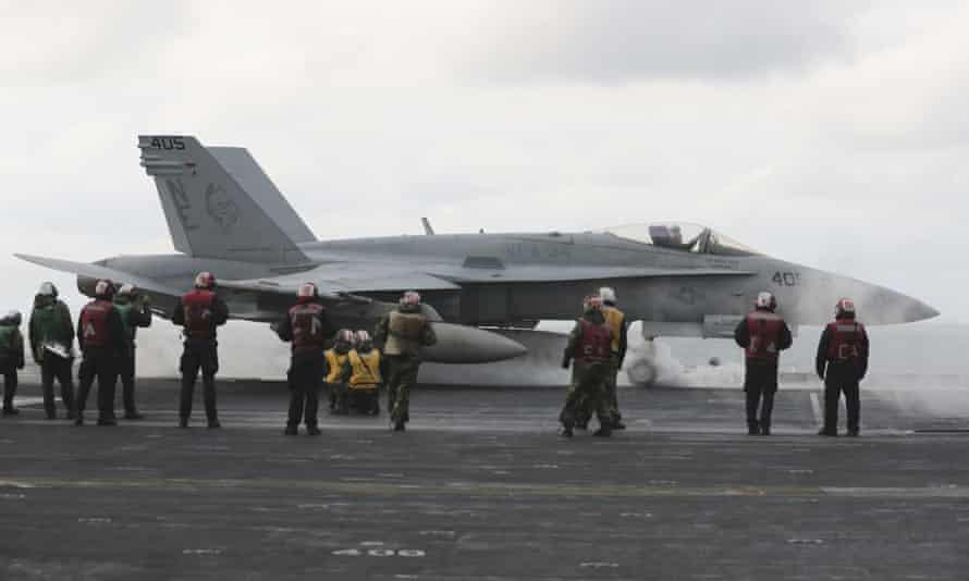 Fighter jet onboard USS Carl Vinson.